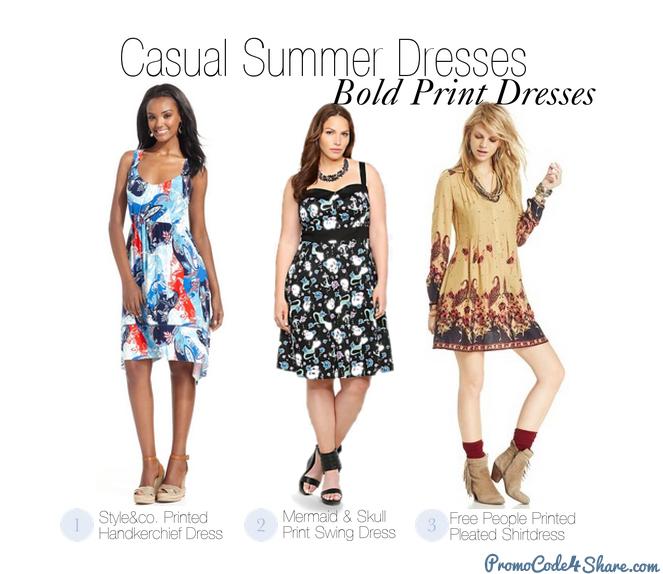 Casual Summer Dresses - Bold Print Dresses