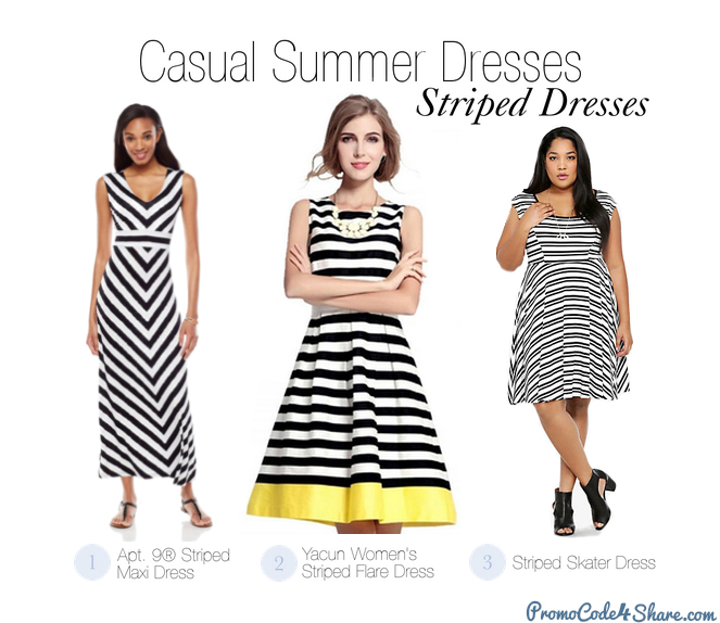 Casual Summer Dresses - Striped Dress