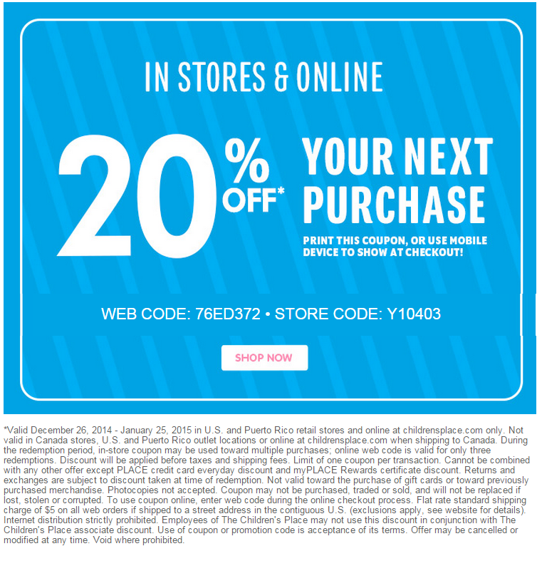 Children's place canada coupon code december 2018