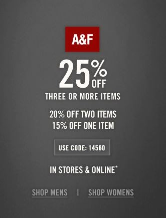 Abercrombie promo code - Get Free shipping orders Be ready to be astonished by the amazing offers and deals on jeans, tees, dresses, skirts, sweaters, outerwear, fragrance and accessories at Abercrombie and Fitch!5/5.
