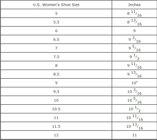 Men's Shoe Sizing Chart and Shoe Size Width Chart